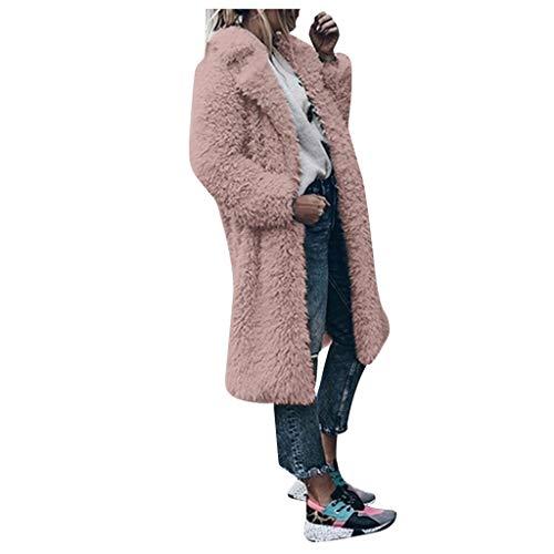 Xmiral Strickjacken Damen Kunstpelz Plüsch Umlegekragen Lange Mantel Einfarbig Winter Warm Jacke Fleece Mode Parka Wintermäntel Trenchcoat(Rosa,XL)