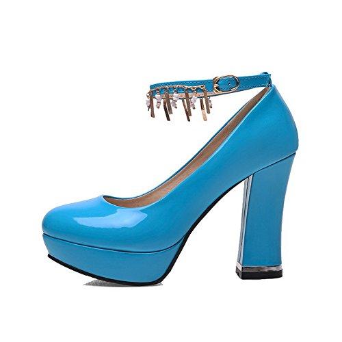 VogueZone009 Femme Boucle Rond à Talon Haut Couleur Unie Chaussures Légeres Bleu
