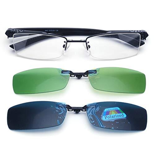 LKVNHP Neue Hochwertige Clip Auf Sonnenbrille Männer Polarisierte Sonnenbrille Für Männliche Nachtfahrten Faltbare Linse Titanium Fit Über Myopie BrillenRahmen Und 2 Linsen