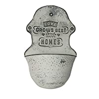 """All Chic """"Love Grows Best In Happy Homes Hanging Distressed Wall Planter"""