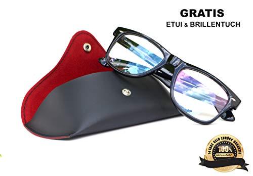 SIAH Blaulichtfilter Brille mit UV Schutz für PC Fernseher und Handy Bildschirme - Herren & Damen (Schwarz) - Steigere Deine Lebensqualität