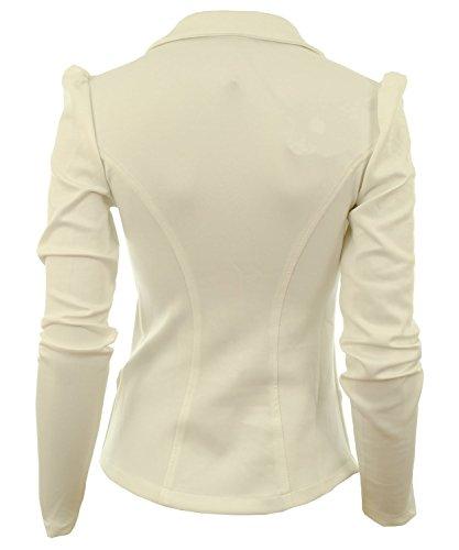 Fast Fashion - Blazer Plaine Manches Longues Veste Bouton - Femmes Crème