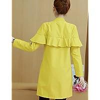 xuanku la mujer 'S salir/Diario Casual Fácil caída abrigo, soporte de sólido Mangas Largas De Acrí lico algodón largo, color amarillo, tamaño extra-large