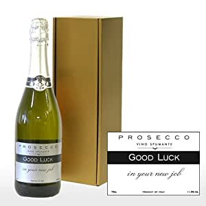 Fine Food Store Personalised Fine Sparkling Prosecco White Wine Glera in Gold Gift Box with 'Good Luck in Your New Job' Label NV 75 cl