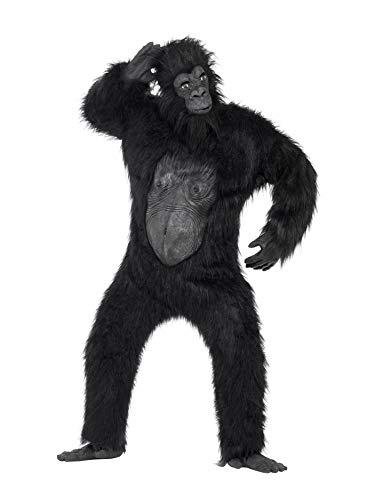 Gorilla Deluxe Kostüm Schwarz Bodysuit mit Gummi-Brust Maske Händen und Füßen, One Size