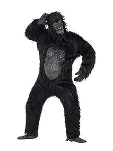 Smiffys Disfraz de Gorila Deluxe, Negro, Body con Pelo de Caucho, máscara, Manos y pies