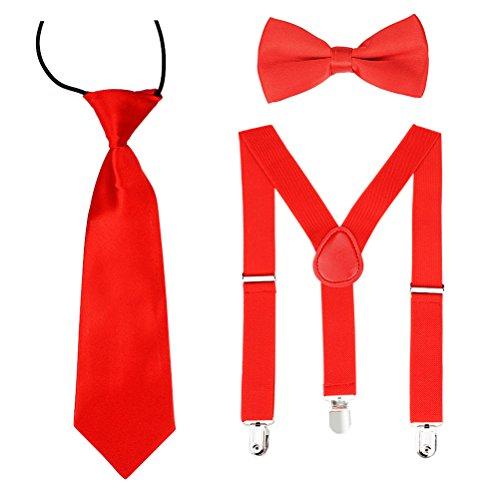 HABI unisex mehrfarbig elastisch Hosenträger Y-Form Länge für Kinder Mädchen und Jungen mit den starken Clips Playshoes Fliege und Krawatte KIT in verschiedenem Design (3)