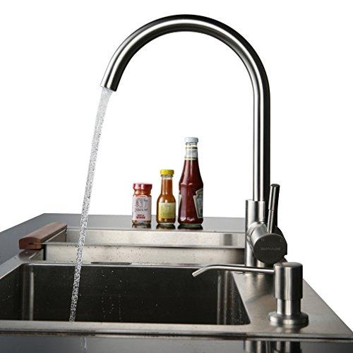 BONADE Spültischarmatur Gebürstet Mischbatterie 360° Elegant Waschbeckenarmatur aus Edelstahl für Küche Waschbecken 2 Jahre Garantie