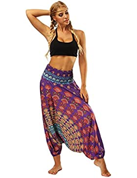 DOGZI Mujer Casual Verano Suelto Yoga Pantalones Holgado Boho Aladdin Mono Harem Una Talla Pantalones