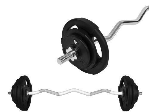 Gummi-Gripper Hantel-Set 24,5Kg (1 x SZ-Hantelstange 120cm, 2x1,25, 2x2,5 und 2x5Kg Hantelscheiben) Hanteln Gewichte