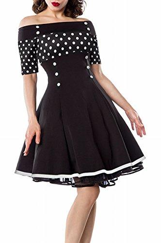 Schwarzes Schulterfreies Damen Vintagekleid mit weiß schwarzen Punkten und weißen Knöpfen im Marine Look ausgestellt Schwarz/Weiß