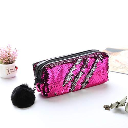 Paillettes make up bag reversibile doppio colore cosmetici della matita della borsa per le donne ragazze