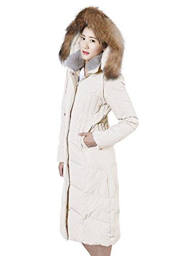 XIAOLV88 Women's Hooded Warm Real Fur Collar Duck Long Down Coat Jacket Beige