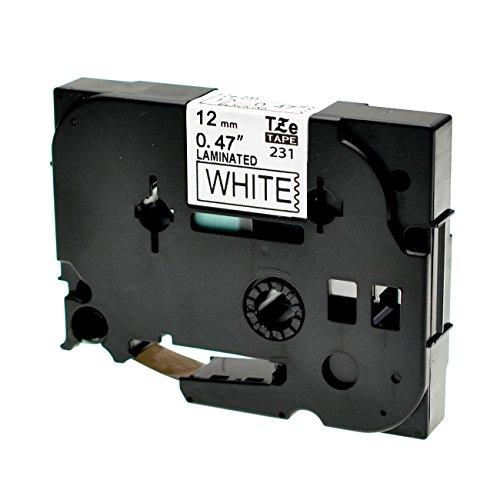 Logic-Seek Schriftband kompatibel für Brother TZE-231 Schwarz auf Weiß 12mm x 8m kompatibel für Brother P-Touch