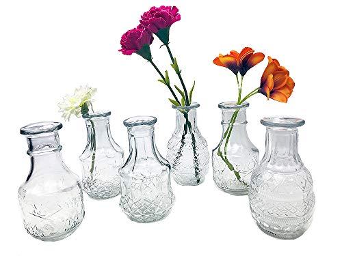 itsisa Glasvase New Vintage, Klarglas Vase, H: 14 cm, 6er Set - schöne, kleine Vase zur Tischdekoration