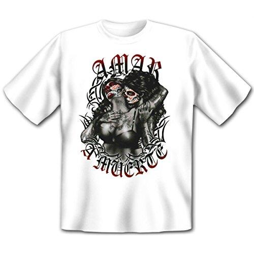 Mexika Stuff - Damen und Herren T-Shirt mit dem Motiv: Amar a muerte Größe: Farbe: weiss - von van Petersen Shirts Weiß