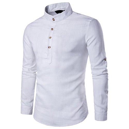 Btruely T-Shirt Herren Langarm Slim Fit Hemden Persönlichkeit Oberteile Knopf Top Freizeithemd Holzfällerhemd Mode Langarm Hemden Männer Pullover Sweatshirts (M, Weiß)