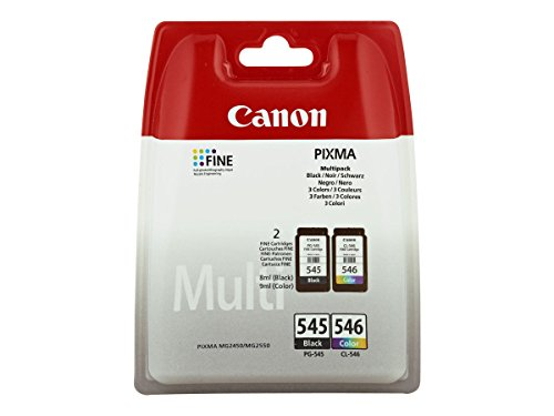 Canon PG-545 CL-546 + Cartridge Multipack Original Ink Black and Tricolor Printer inkjet Pixma TS3150-TS3151-MG2450 MG2550-MG2550S--MG2555S-MG2950 MG3050-MG3051--MG3052 MG3053-IP2850-