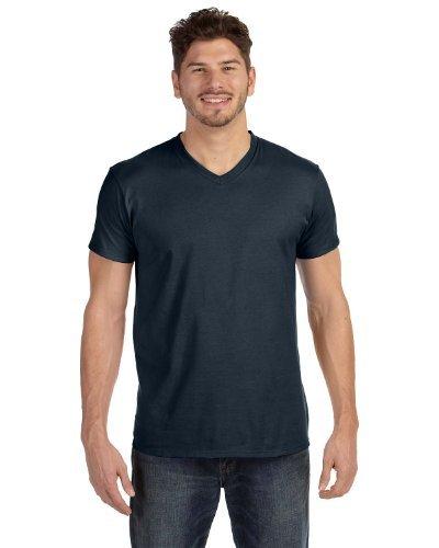 Hanes V-neck T-shirts (Hanes Mens 4.5 oz. 100% Ringspun Cotton Nano-T V-Neck T-Shirt(498V)-Vintage Black/Vintage Khaki-3XL-3PK)