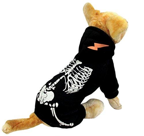 ween Verkleidung Haustier Skelett Kleidung Cool Cosplay Party Kostüm für Hund Katze Schwarz XL (Coole Kostüme Für Die Halloween-party)