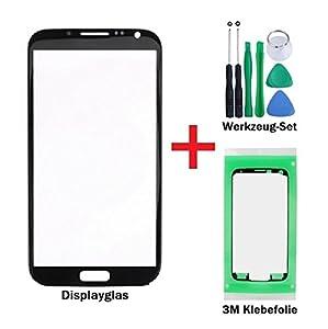 iTech Germany Displayglas Reparatur-Set für Samsung Galaxy Note 2 Schwarz - Front Display Glas für Modell N7100 N7105 LTE + 3M Vorgeschnittene Klebefolie und 7-Stück Werkzeug-Set