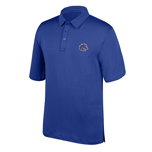 J America NCAA Men's Boise State Broncos Yarn Dye Striped Team Polo Shirt, X-Large, Royal -