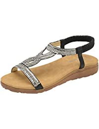 Dunlop Femmes Été Folk Rond Clip Sandales Tongs Plage élastique Plat t-Sangle Post String Sandales