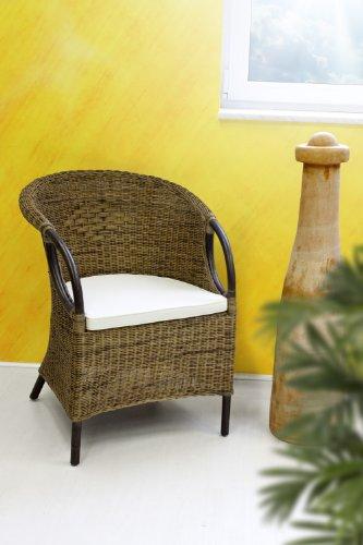 Marja Rattansessel inkl. Sitzkissen Rattan Sessel mit Armlehnen Bi Color Korbstuhl