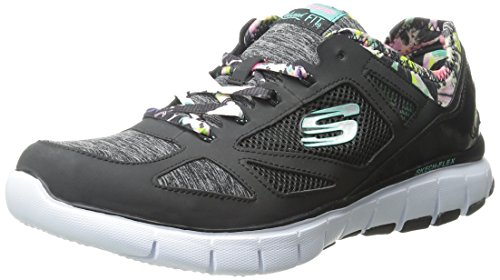 Skechers Flex Tropical Vibes, Baskets Basses Femme Negro (Bkmt)