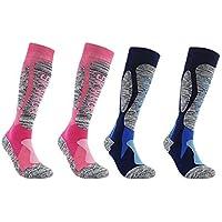 B Baosity 2 Pares de Calcetines de Esquí Largos y Térmicos para Correr Ciclismo, Calcetines