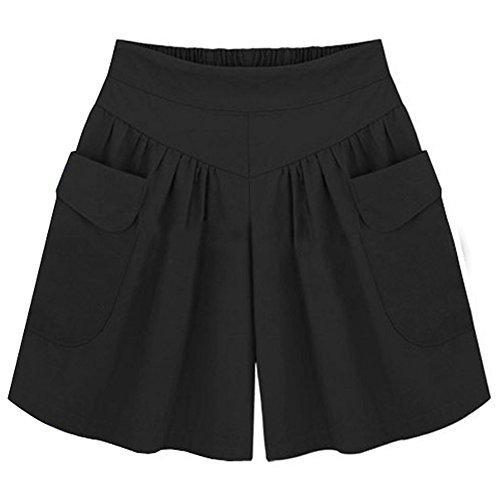 Große Casual Shorts (Damen Shorts Sommer Kurze Hosen High Waist Hot Pants Lose Beach Stoff Short Hosenrock Kurz)