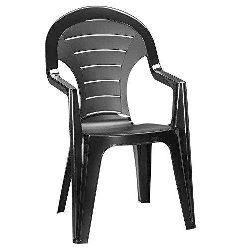 JARDIN 221041 Bonaire Stapel-Sessel hoch graphit Vollkunststoff