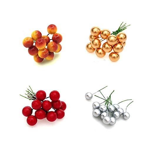 Yamybox 48 Pezzi/più Palline appese ad Albero di Natale Palla di Frutta attività Decorazione per Feste Palla per Decorazioni Natalizie in Oro Rosso Argento