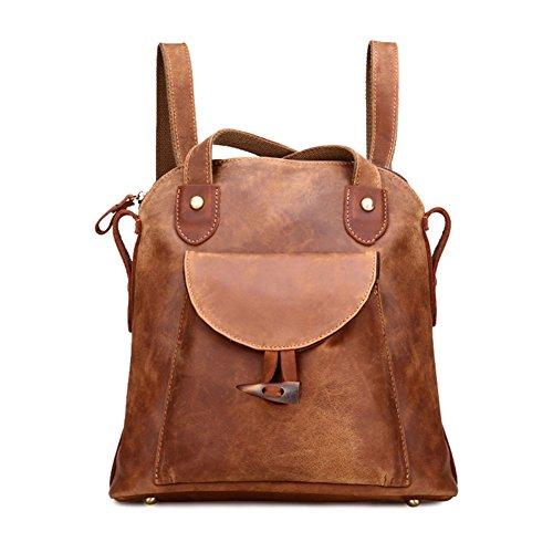 Damen Retro Leder Vintage Rucksack Tasche 2 in 1 Lederrucksack Ledertasche Lederrucksack Damen Schultertasche Leder Rucksack Für Mädchen (Leder Echt Rucksack)