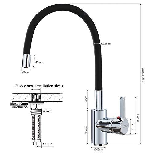 Auralum – Design-Küchenarmatur mit flexiblem Brausehals, Schwarz - 2