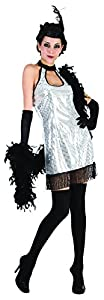 Rire et Confetti Reír y confeti - Ficfla002 - Disfraz Para Adultos - Disfraz de plata Charleston - Mujer - Talla L