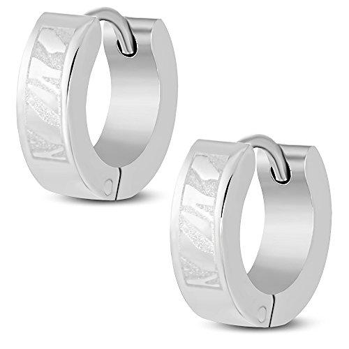 bungsa® Laser Art orecchini a cerchio acciaio chirurgico 316L argento 4mm-1paio di cerchio a Clip (Rot Laser)