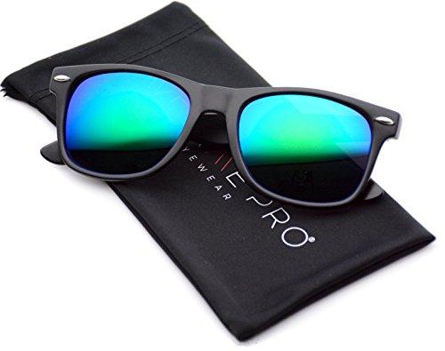 WearMe Pro - Hornbrille Revo-Sonnenbrille Große Verspiegelte Gläser Sonnenbrille