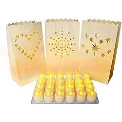 Pack de 24 Linternas Decorativas de Papel Blanco con Diseños de Estrella, Corazón y Rayo de Sol