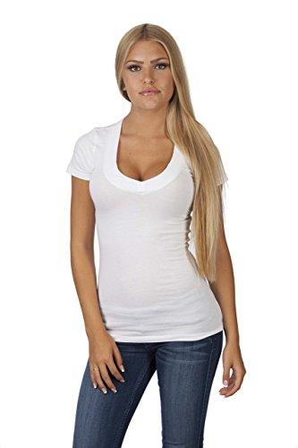 Hollywood star fashion, maglietta da donna, con profondo scollo a v, a maniche corte  white medium