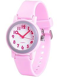 WOLFTEETH Analog Grade Escuela Niñas Niños Reloj con Segunda Mano Lindo Pequeño Rostro Blanco Dial Resistente Al Agua Niño Rosa 305801