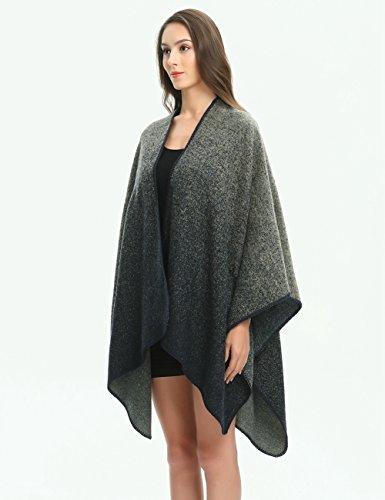Ferand Poncho Cape Elegant für Damen, Stil Vorne Offen und Dicke für Herbst Winter Stil 2: Marineblau