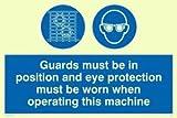 Viking Schilder mp301-a5l-pv Wachen muss in Position und Augenschutz zu tragen, wenn diese Maschine Zeichen, Foto Leuchtziffern Aufkleber, 150Mm H x 200mm W