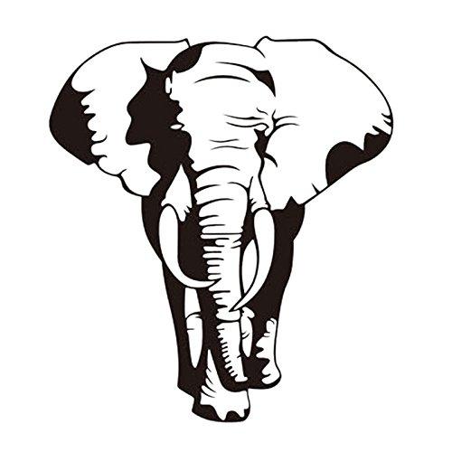ALLDOLWEGE Elegante wall-elefantes africanos extraíble verde labrado una pegatina.