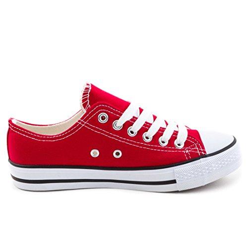 69ae527c8cc7 ... Trendige Unisex Damen Kinder Herren Schnür Sneaker Low Top Schuhe  Canvas Textil Rot Weiß JpYgT2