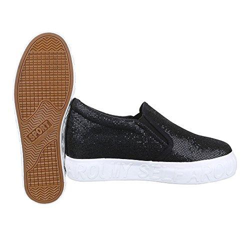 Slipper Damen Schuhe Low-Top Stretch Ital-Design Halbschuhe Schwarz