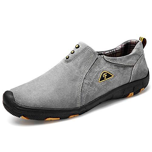 Mocassini da Passeggio Comodi Uomo, Scarpe da Trekking Scamosciato Inglesi Slip On Loafers Scarpe da Guida 38-45,Grigio,38