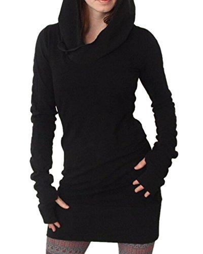 Minetom Donne Manica Lunga Felpa Con Cappuccio Bodycon Maglione Camicia Vestito Corto Lungo Camicie Maglione Nero 48