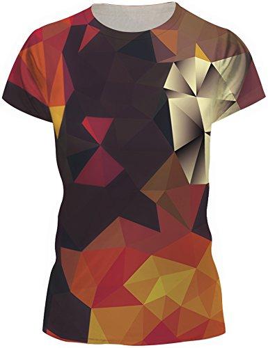 TDOLAH Damen Sommer Shirt Bluse 3D Print Kurzarm Design Tops Hemd T-Shirt (Größe L/XL, Bunt Dreieck) (Print-shirts)