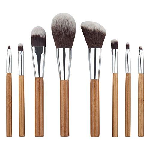 HimanJie Brosses de maquillage de poignée en bambou 8pcs Set pinceaux de maquillage